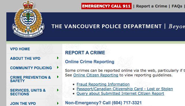 Как в Ванкувере Написать Заявление в Полицию
